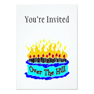 Over The Hill Flaming Birthday Cake 13 Cm X 18 Cm Invitation Card