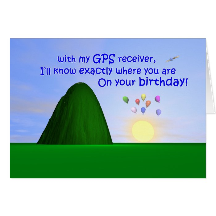 Over the Hill GPS Birthday Greeting Card