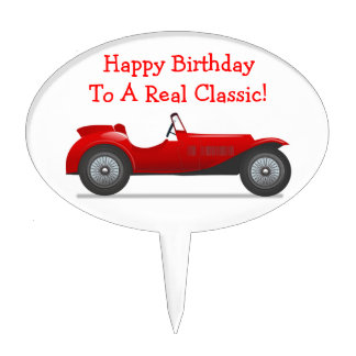 Over The Hill Happy Birthday Old Classic Coup Car Cake Pick