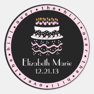 Over The Hill Pink Birthday Cake Round Sticker