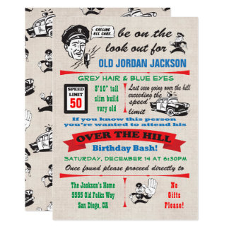Over the Hill Police Cop Birthday Invitation