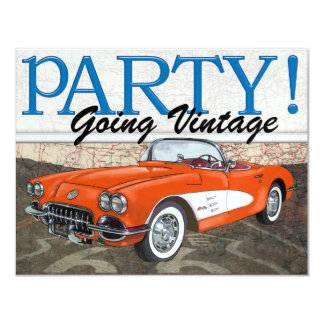 Over the Hill - Route 66 - Vintage Cars Invitation