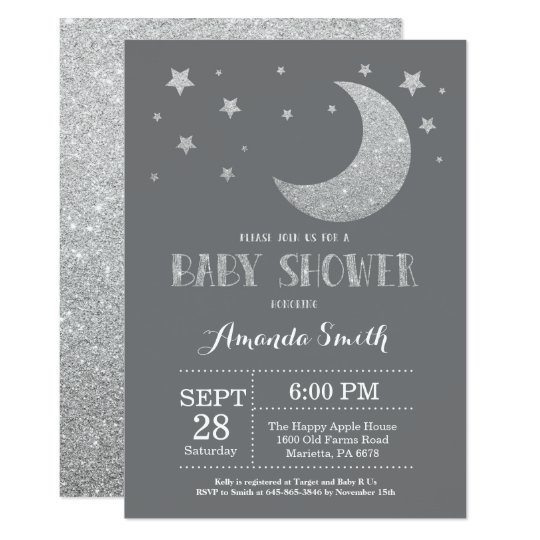 Over the Moon Baby Shower Invite Silver Glitter