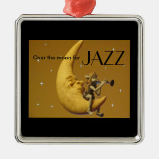 Over the moon for Jazz Silver-Colored Square Decoration
