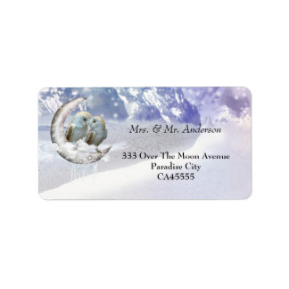 Over the Moon Love Owls Wedding Address Label