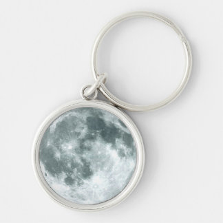"""""""OVER THE MOON"""" Zipper-Pull & Silver-Colored Round Key Ring"""
