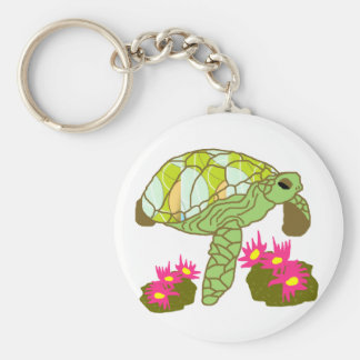 Over the Pink anemone sea turtle key chain