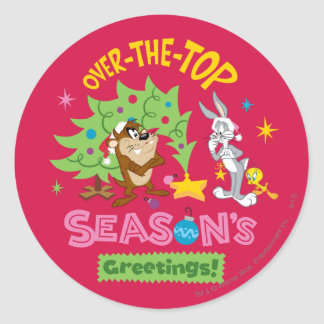 Over The Top Season's Greetings Round Sticker