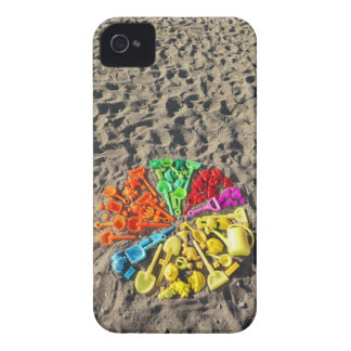 Overhead view of colourful children's plastic iPhone 4 cases