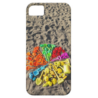 Overhead view of colourful children's plastic iPhone 5 cover
