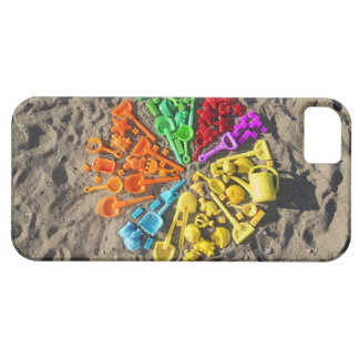 Overhead view of colourful children's plastic iPhone 5 covers