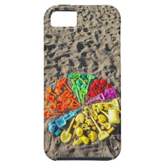 Overhead view of colourful children's plastic tough iPhone 5 case