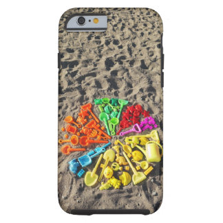 Overhead view of colourful children's plastic tough iPhone 6 case