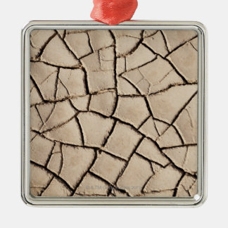 overhead view of cracked earth on a desert christmas ornament
