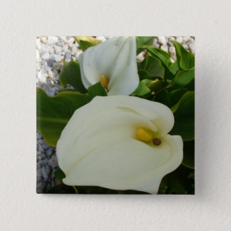 Overhead View Of Two Calla Lilies In A Garden 15 Cm Square Badge