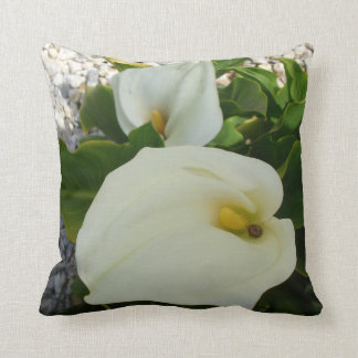 Overhead View Of Two Calla Lilies In A Garden Cushion