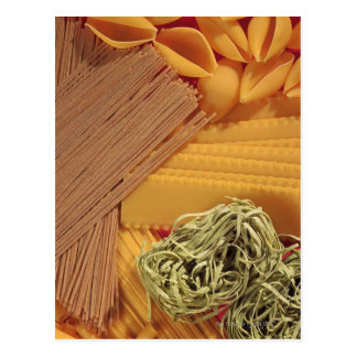 Overhead view of various pasta postcard