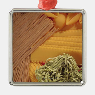 Overhead view of various pasta Silver-Colored square decoration
