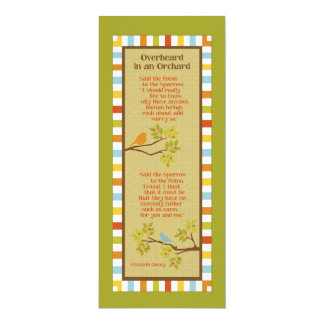 Overheard in an Orchard (Robin & Sparrow) Bookmark 10 Cm X 24 Cm Invitation Card