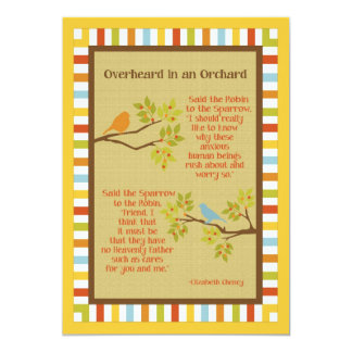"""Overheard in an Orchard"" (Robin & Sparrow) Poem 13 Cm X 18 Cm Invitation Card"