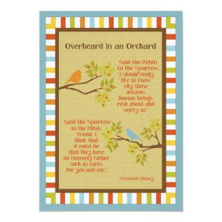 """""""Overheard in an Orchard"""" (Robin & Sparrow) Poem 13 Cm X 18 Cm Invitation Card"""