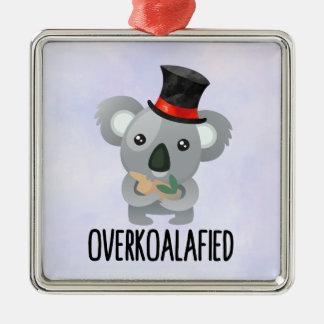 Overkoalafied Pun Cute Koala in Top Hat Christmas Ornament