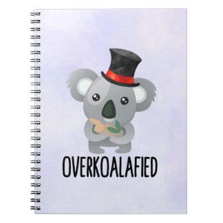 Overkoalafied Pun Cute Koala in Top Hat Spiral Notebook