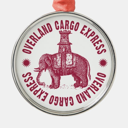 Overland Cargo Express Elephant Christmas Ornament