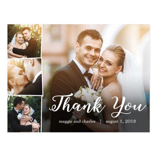 Wedding Thank You Cards.Overlapped Photos Wedding Thank You Card Postcard