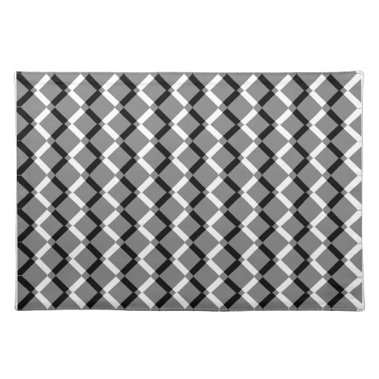 Overlapping Black and White Zigzag Lines Placemat