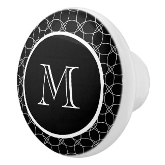Overlapping Circles Personalized Monogram Ceramic Knob