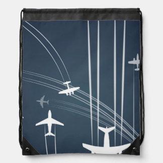 Overlapping Flight Paths Pattern Drawstring Bag