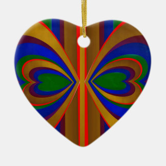 Overlapping Hearts on Stripes Christmas Tree Ornaments