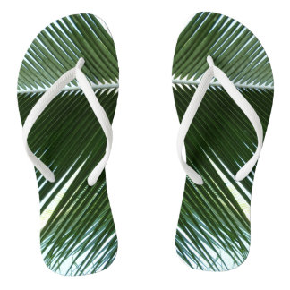 Overlapping Palm Fronds Tropical Green Abstract Flip Flops