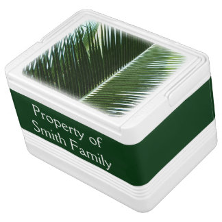 Overlapping Palm Fronds Tropical Green Abstract Igloo Cool Box