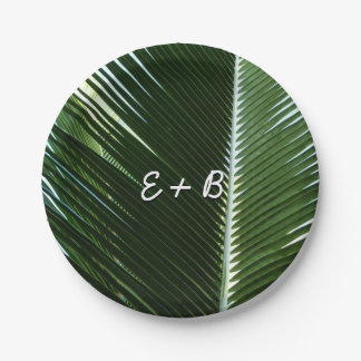 Overlapping Palm Fronds Tropical Green Abstract Paper Plate