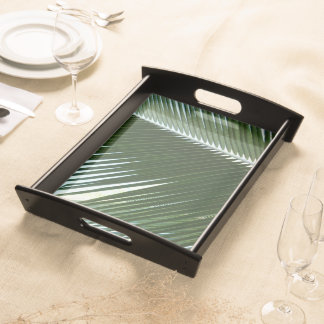 Overlapping Palm Fronds Tropical Green Abstract Serving Tray
