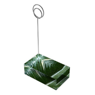 Overlapping Palm Fronds Tropical Green Abstract Table Number Holder