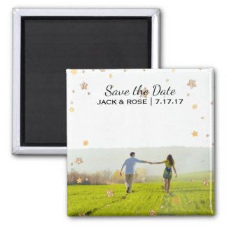 Overlay Gold Stars | Custom Photo Save the Date Magnet