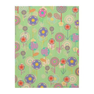 Overlayer Flowers Wood Print