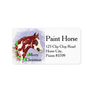 Overo Horse Head (Christmas) Address Label