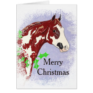 Overo Paint Horse (Christmas) Greeting Card