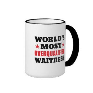 Overqualified Waitress Ringer Mug