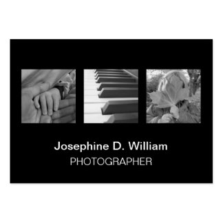 Oversize 3 photos or logo black white modern chic pack of chubby business cards