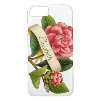 Oversize Red Victorian Flower & Monogrammed Ribbon iPhone 8/7 Case