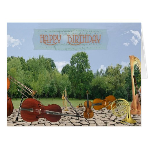 Oversized Birthday Orchestra Instruments in Park Cards