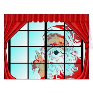 Oversized Christmas Santa Window Scene Big Greeting Card