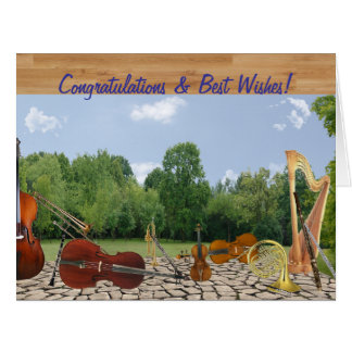 Oversized Congrats Orchestra Instruments in Park Large Greeting Card