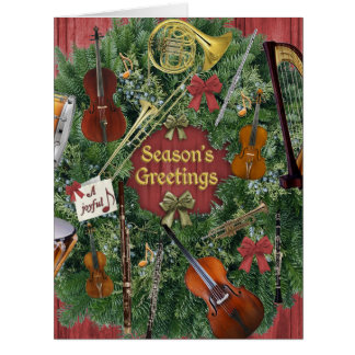 Oversized Orchestra Instruments Holiday Wreath Card