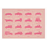 Oversized Vintage Automobile Poster in Pink